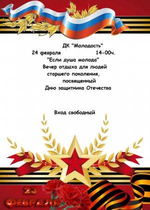 """24 февраля - ДК """"Молодость"""" - Вечер отдыха для людей старшего поколения, посвященный Дню защитников Отечества"""