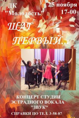 """25 ноября ДК """"Молодость"""" - концерт студии эстрадного вокала """"Звук"""""""