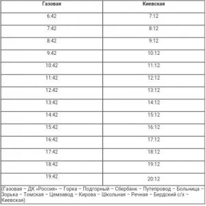 1 сентября произошли изменения в расписании движения автобуса по маршруту №2(1) «Киевская-Газовая»
