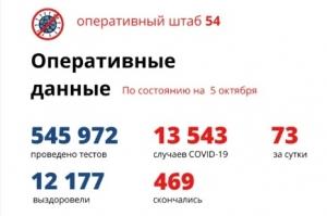 Еще 73 новых случая COVID-19 выявили в Новосибирской области